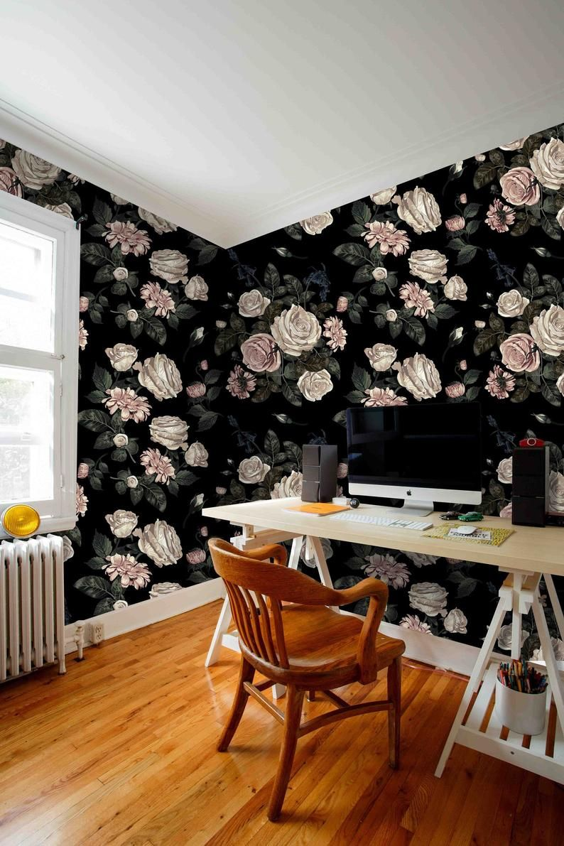 Floral On Black Background Wallpaper Removable Self Adhesive Etsy In 2020 Black Background Wallpaper Textured Walls Orange Peel Wall Texture