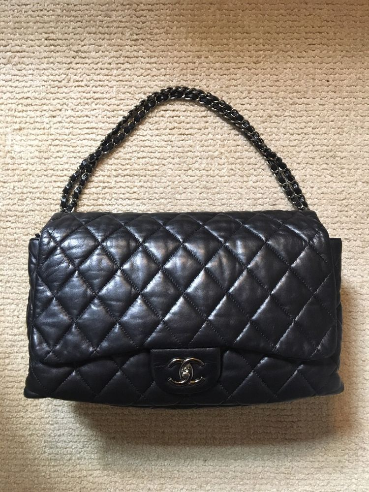 3be7fb9c917e CHANEL AUTHENTIC BLACK QUILTED LEATHER FLAP BAG CC LOGO SILVER CHAIN LARGE  SOFT #fashion #clothing #shoes #accessories #womensbagshandbags (ebay link)