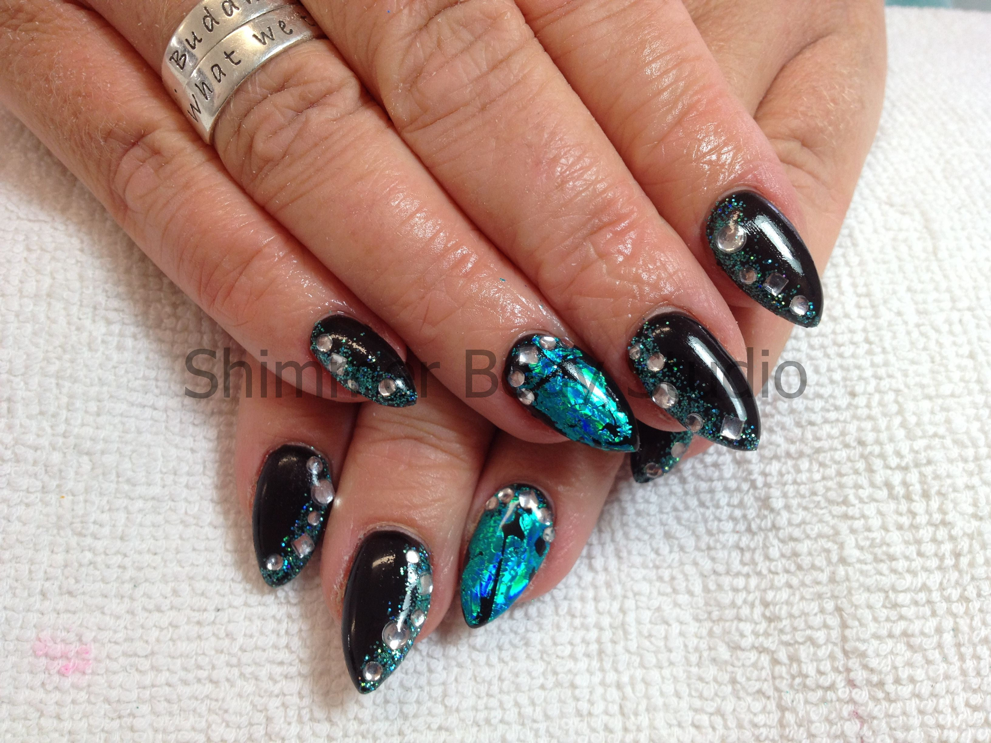 Gel nails, pointed nails, turquoise nail art, foil, glitter ...