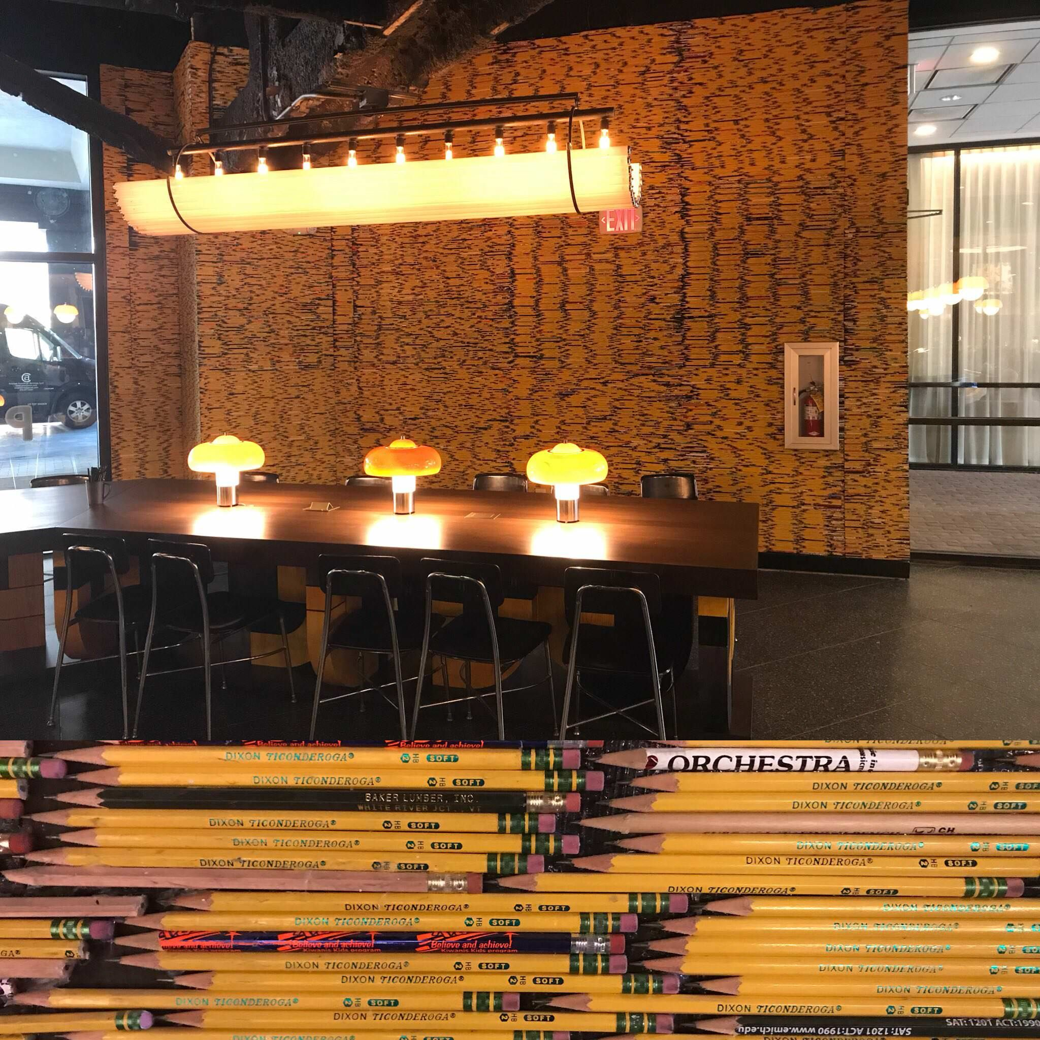 The Graduate Hotel In Iowa City Has A Coffee Shop With 6 7 Walls Decorated With Pencils All 2 Amp Sharpened Coffee Shop Wall Decor Decor