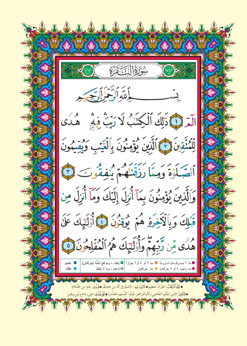 صفحة رقم ٢ مصحف التجويد سورة البقرة Tajweed Quran Quran Verses Muslim Love Quotes