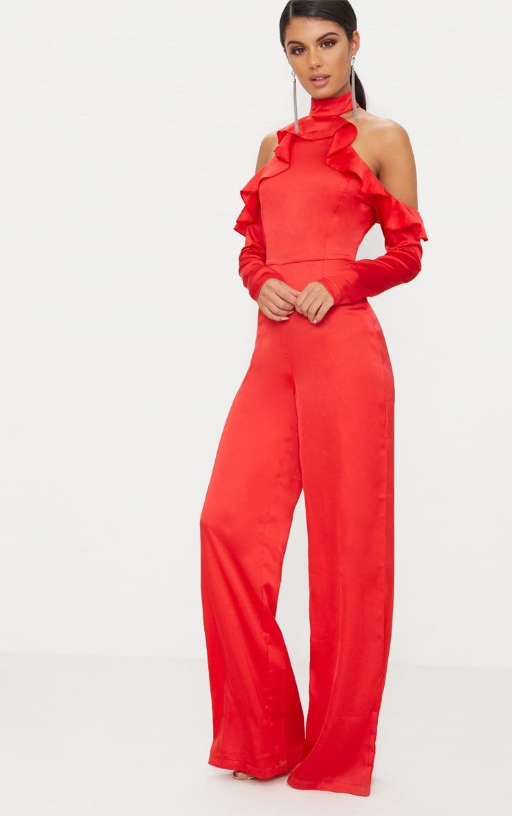 5f2229a54aeb Red Satin Cold Shoulder Frill Jumpsuit