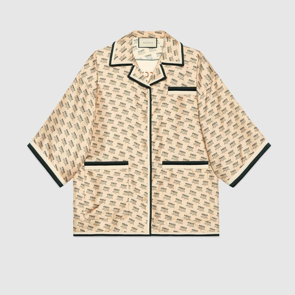 f25d434e6a8 Shop the Gucci stamp silk shirt by Gucci. The Spring Summer 2018 fashion  show invite