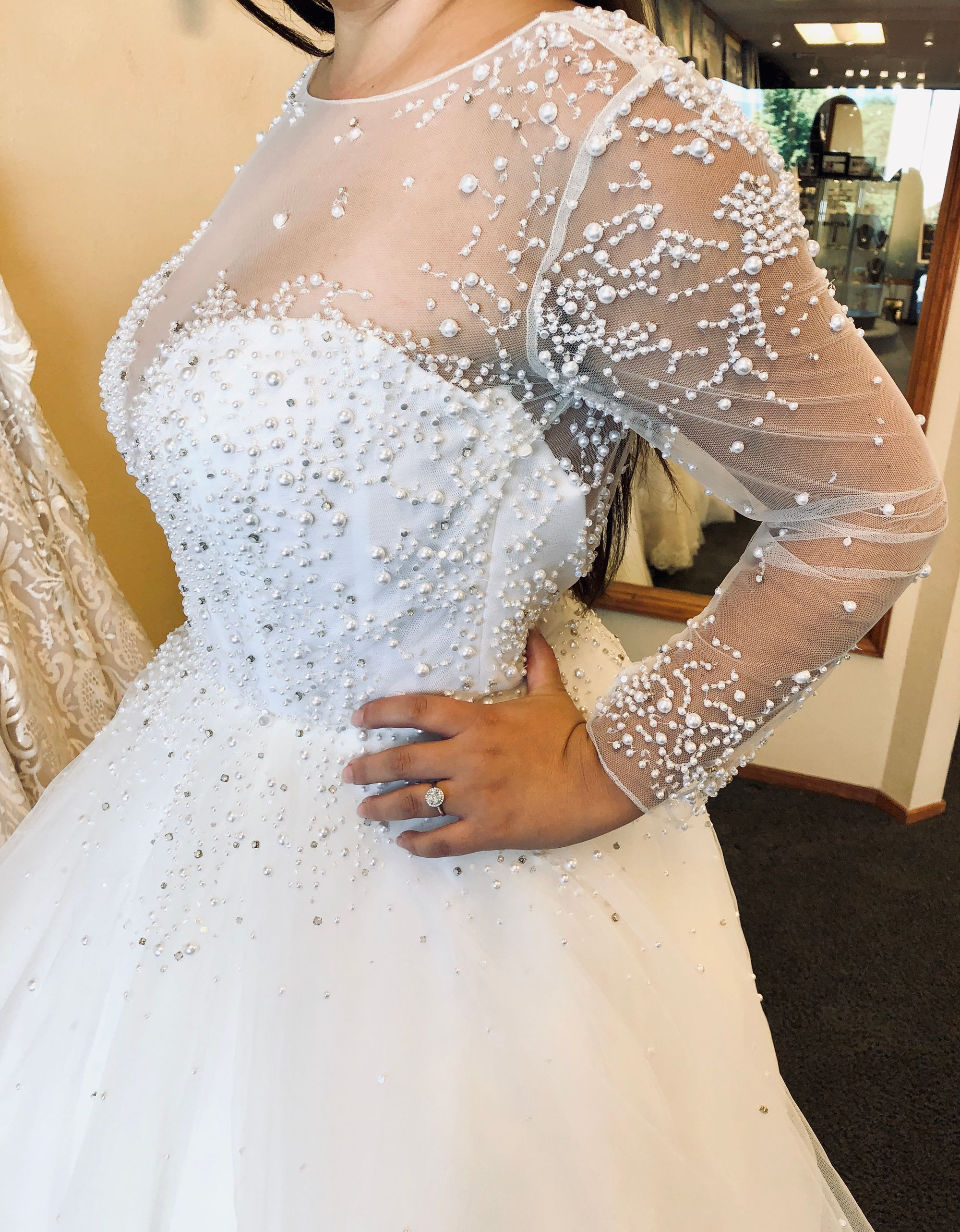 We Re Kind Of Obsessed With The Pearl Details On The Hayley Paige Effie Dress P S We Ve Added On 1 More Hayle Wedding Dresses Wedding Dress Shopping Bridal