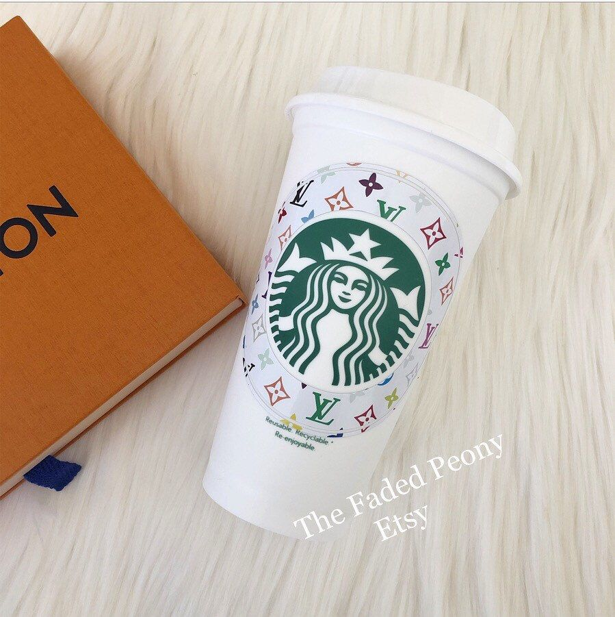 Excited To Share This Item From My Etsy Shop Designer Inspired Print Starbucks Cup Starbucks Personalized Starbucks Cup Starbucks Cups Custom Starbucks Cup
