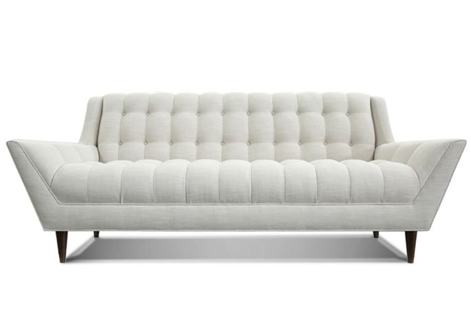 Cleveland Sofa By Thrive Furniture L Bishop Ivory Fabric L Mid Century  Button Tufted Sofa Design