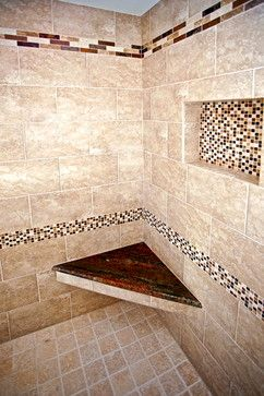 Custom Corner Shower Seat Surrounded By Custom Shower Tile And