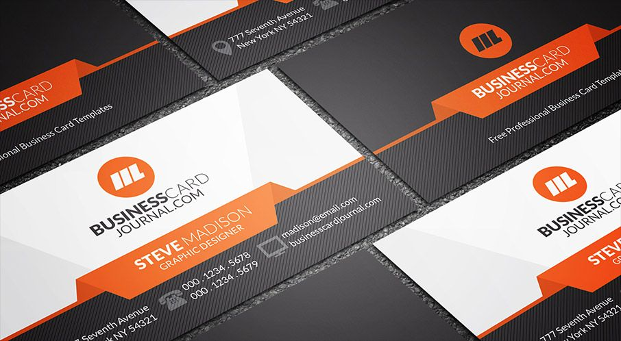 Free sleek stylish orange accent business card template business free sleek stylish orange accent business card template business card journal reheart Image collections