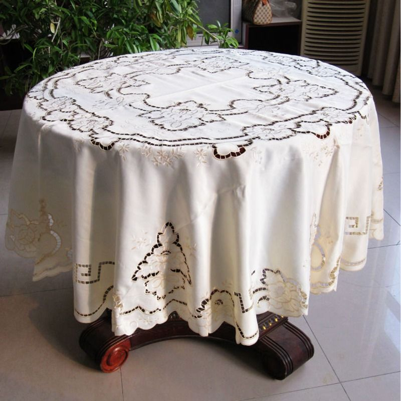 Marvelous 175cm Round Tablecloth Cutworking Embroidered Tablecloth 68 Inches Round  Table Cover