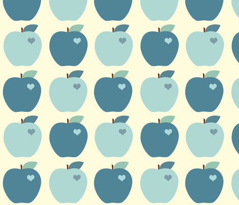 Blue Apples fabric by anikabee on Spoonflower - custom fabric