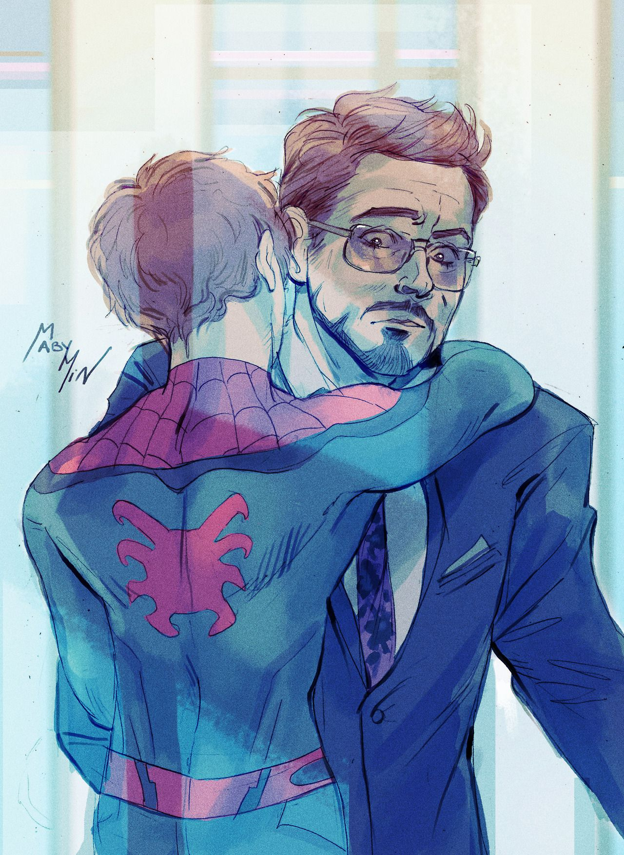 Dad hugs - Peter Parker and Tony Stark  Art by mabychan  | The