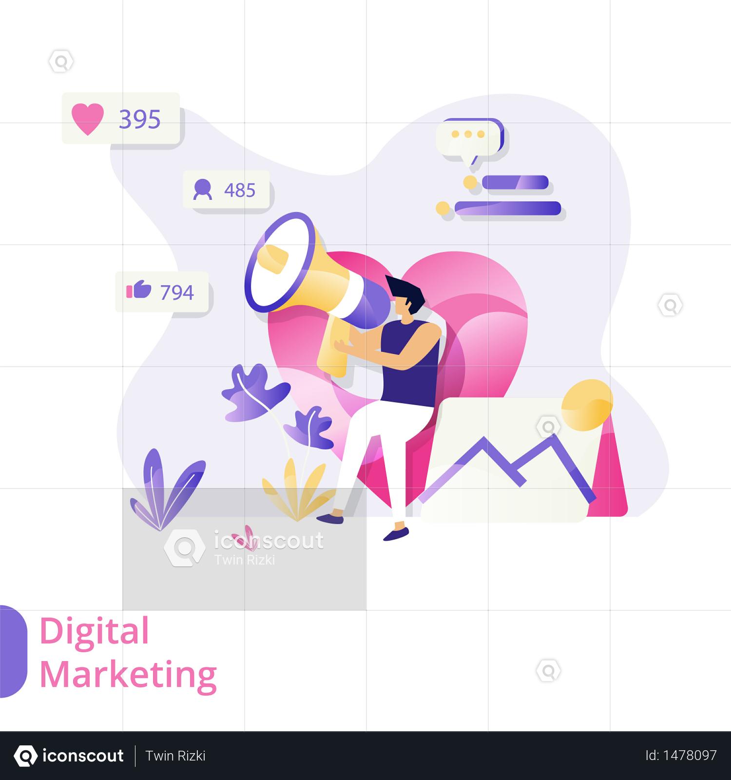 Premium Digital Marketing Illustration Download In Png Vector Format Digital Marketing Business Illustration Illustration