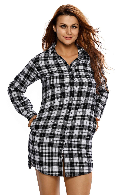db1020a1b05 Robe Chemise Manches Longues Noir Blanc Tartan Haut Top Femme Pas Cher  www.modebuy.
