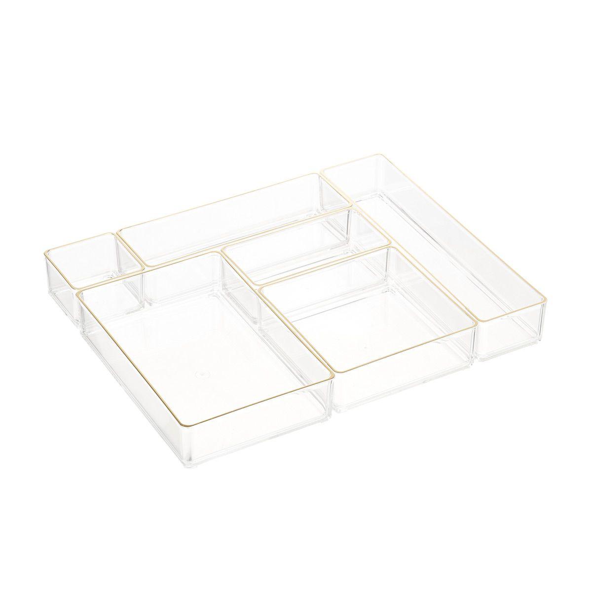 Acrylic Drawer Organizers Gold Trim Set Of 6 In 2020 Acrylic Drawer Organizer Drawer Organizers Desk Drawer Organisation