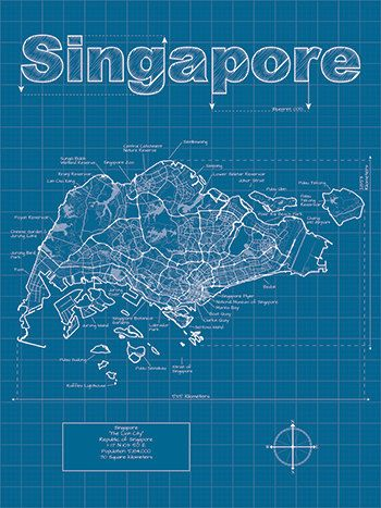 singapore map original artwork singapore blueprint wall art