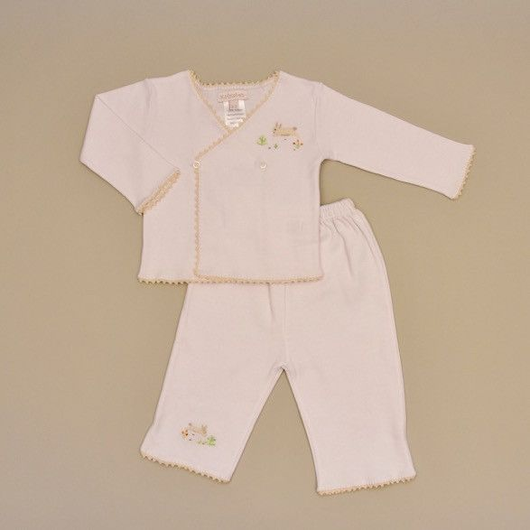 100% White Cotton Baby Tee and Pant Set with Crochet and Embroidered Ecru Rabbit