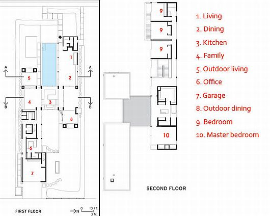 exterior and interior house plans with pool fascinating house floor plan of both two levels floor vienna way residence by marmol radziner w - Vienna House Plans