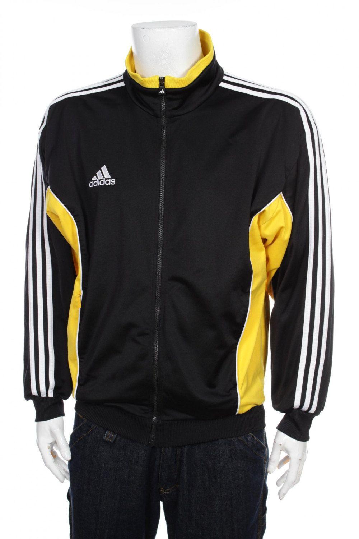 794894494220 Vintage 90s Adidas Tracksuit top Windbreaker jacket color block black yellow white  Size L by VapeoVintage on Etsy