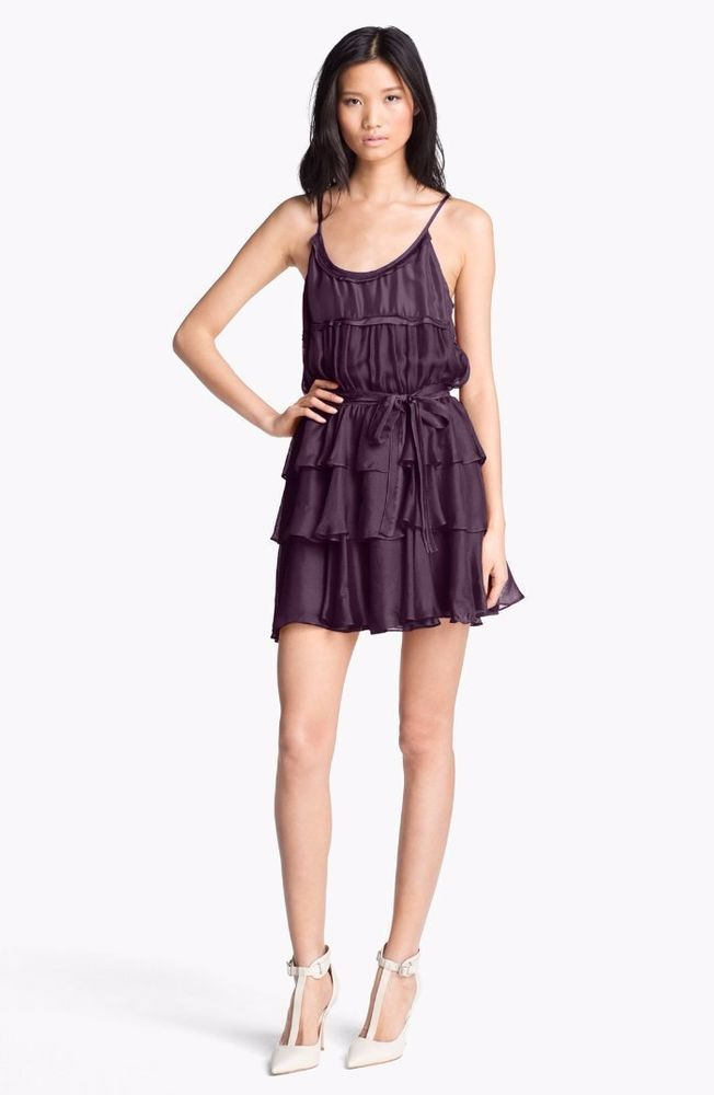 $495 Elizabeth and James Aubergine Silk Tiered Tricia Dress XS 0 2 NWT E393 #ElizabethandJames #Blouson1valueperline #Cocktail