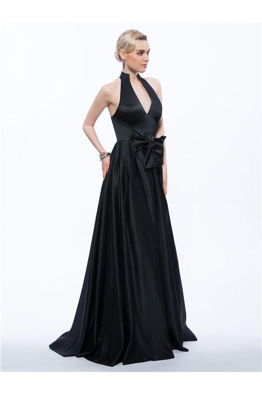 Vintage Halter Black Open Back Long Formal Evening Dress My Style