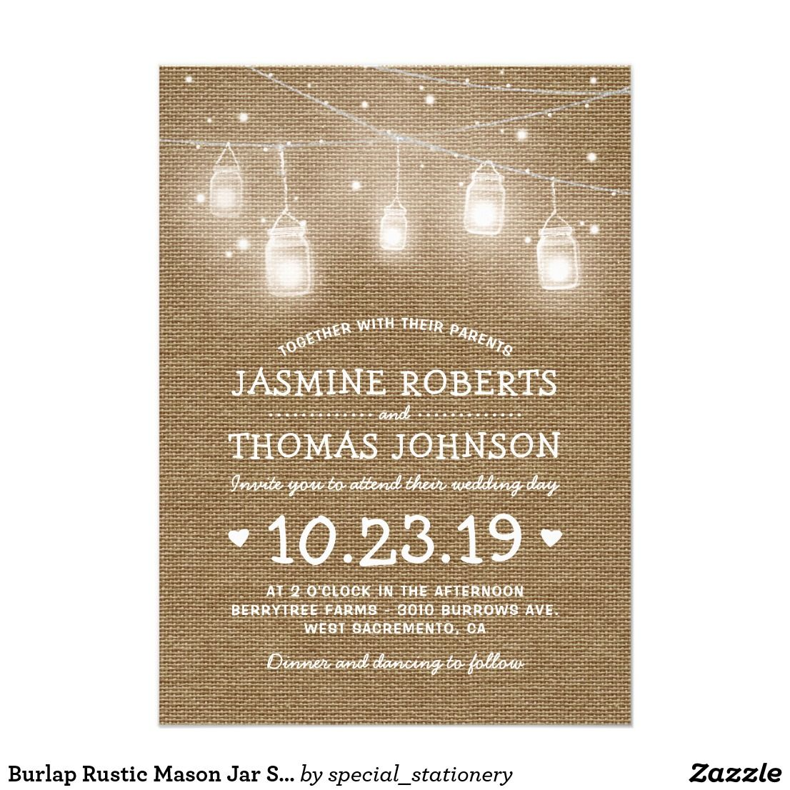 Burlap Rustic Mason Jar String Lights Wedding Card | Rustic mason ...