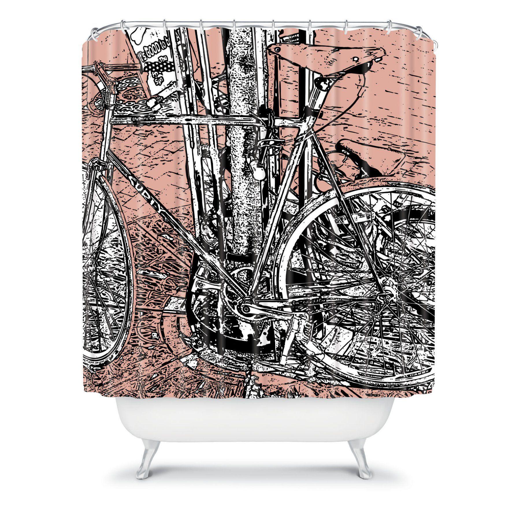 Deny Designs Romi Vega Bike Shower Curtain 13355 Shocur Modern