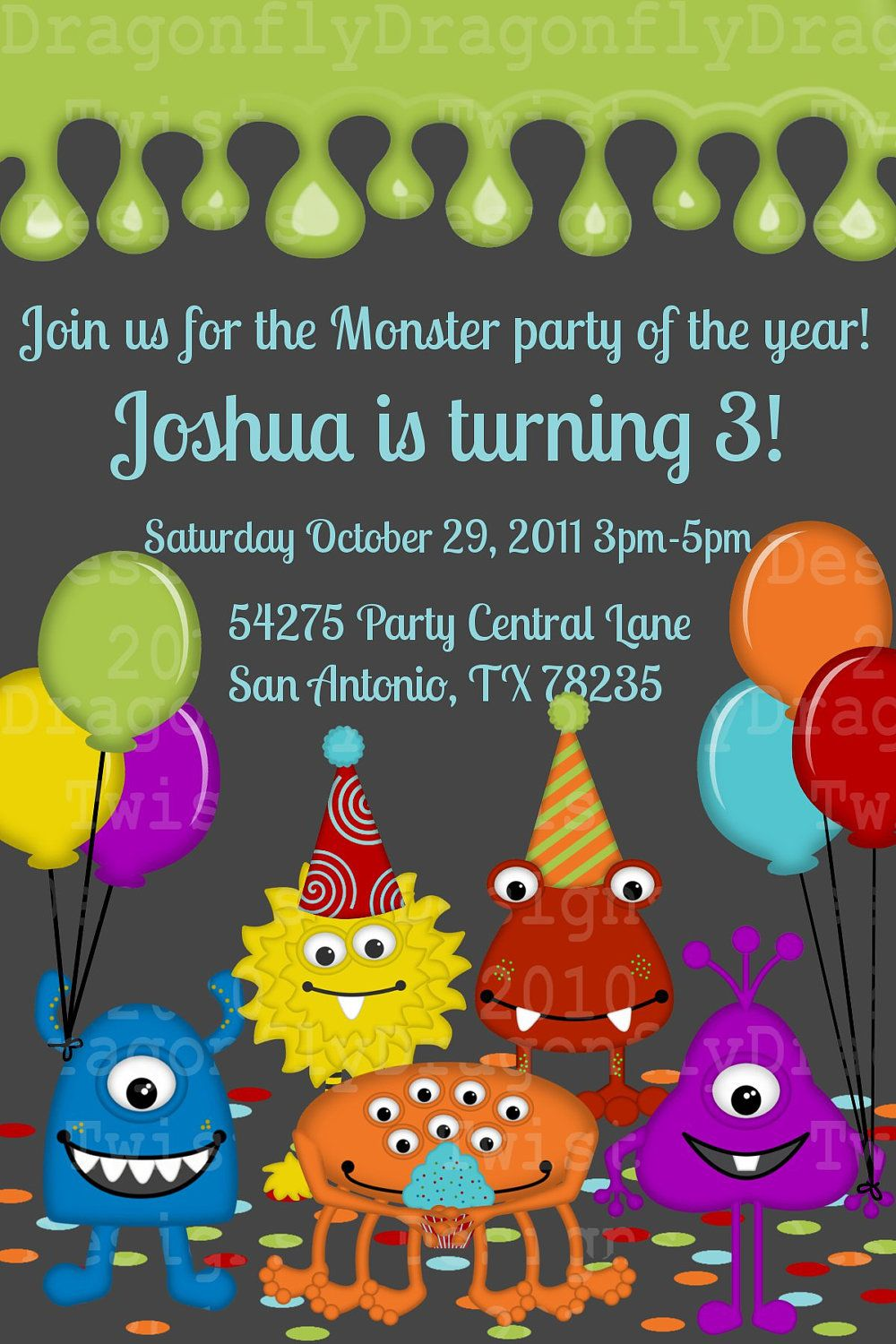 Silly Monsters Party Printable DIY Collection- Birthday Invites ...