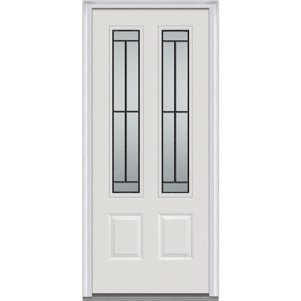 Mmi Door 36 In X 80 In Madison Right Hand 2 3 4 Lite 2 Panel Classic Primed Fiberglass Smooth Prehung Front Door Z001673r The Home Depot Steel Doors Exterior Mmi Door Glass Decor