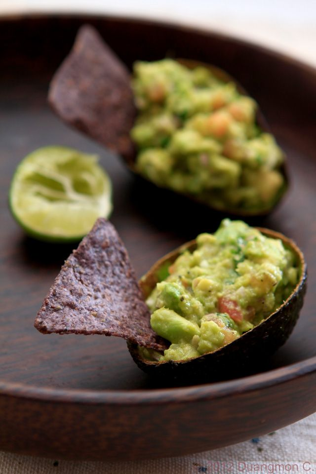 Wasabi Guacamole with Blue Tortilla Chips — Now, that's an interesting twist to guacamole!
