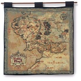 Map Of Middle Earth Tapestry Lord Of The Rings With Hanging Rod