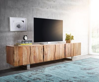 fernsehtisch live edge akazie natur 220 cm 3 t ren massivholz baumkante lowboard jetzt bestellen. Black Bedroom Furniture Sets. Home Design Ideas