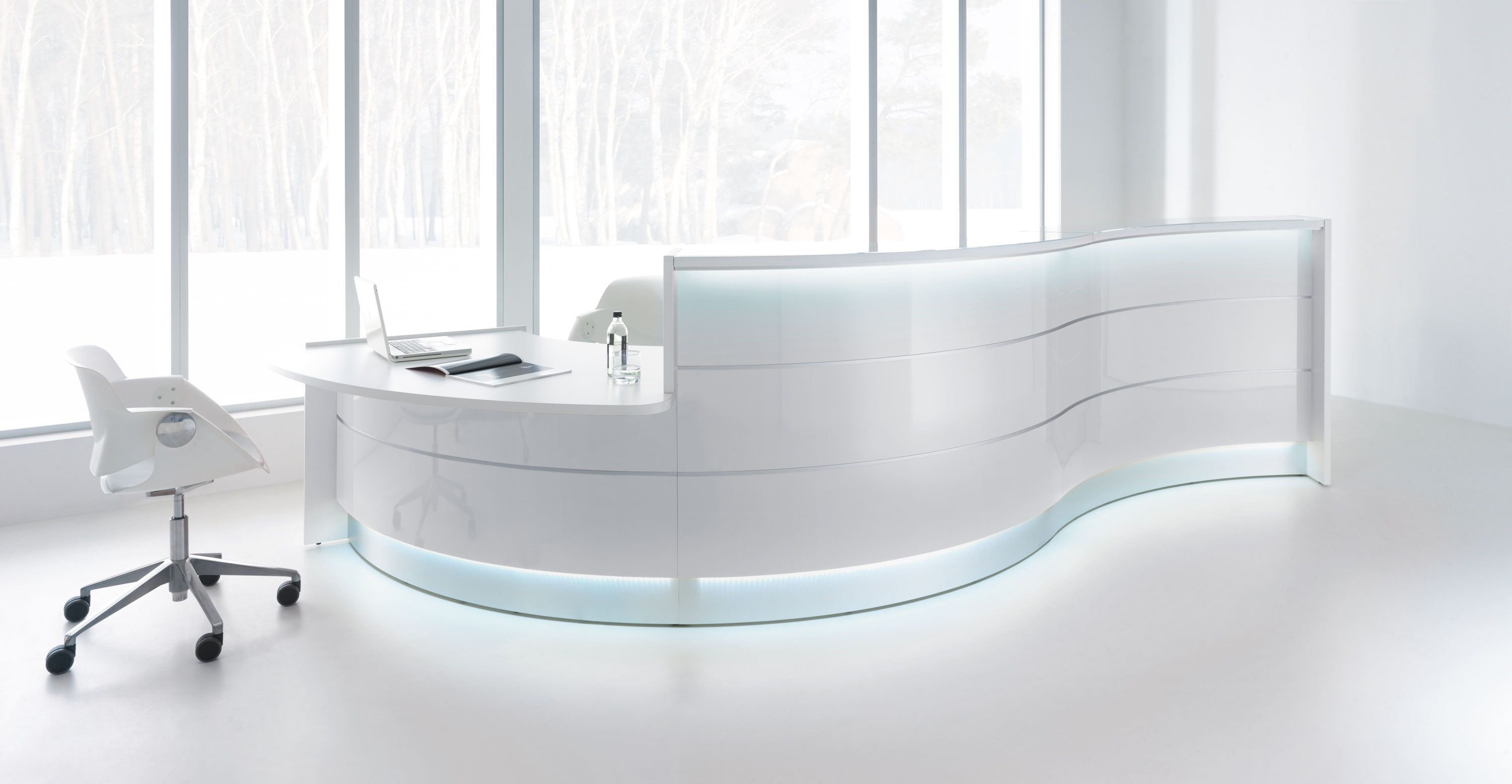 Need A Sleek Grand Desk To Add To Your Reception Area This White