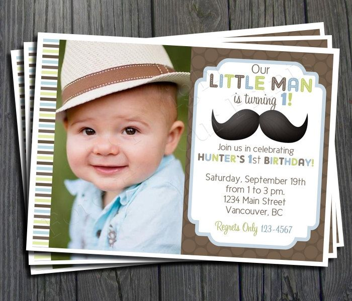 Little Man Mustache Birthday Invitation Free Thank You Card Included 15 00 Via Etsy Little Man Birthday Little Man Party Mustache Birthday
