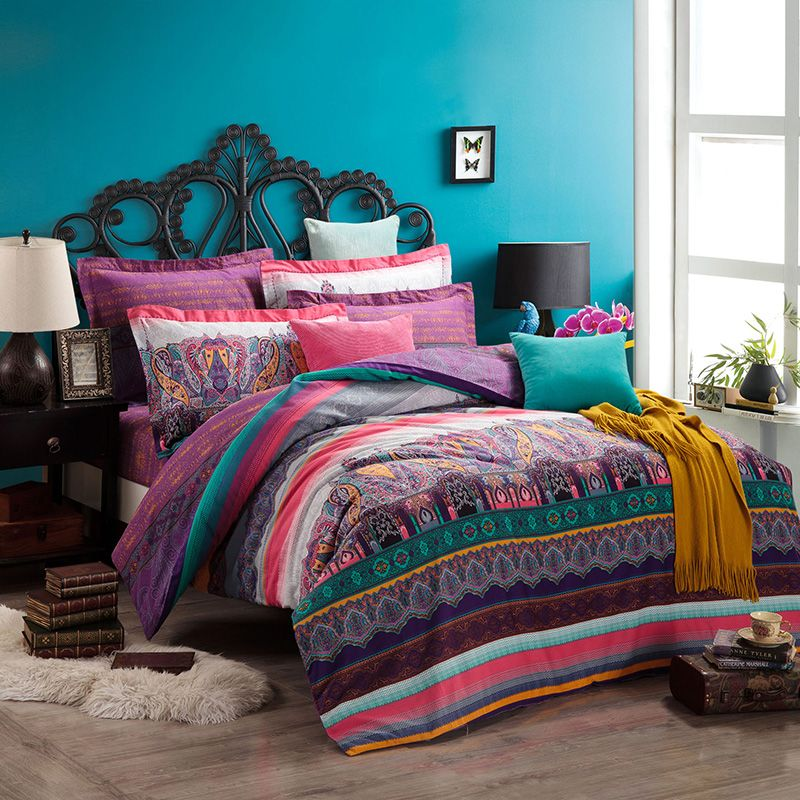 Delia Purple Duvet Cover Set European Bedding Casual ...