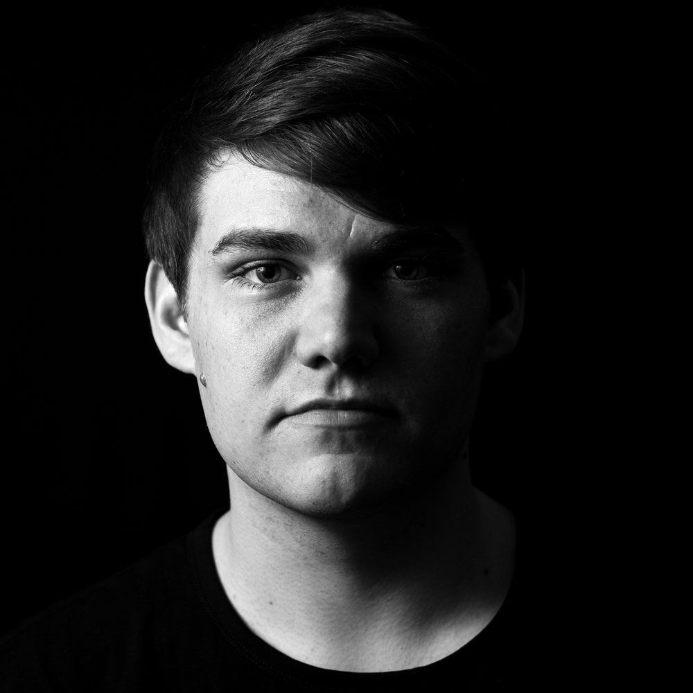 high contrast black and white male portrait high