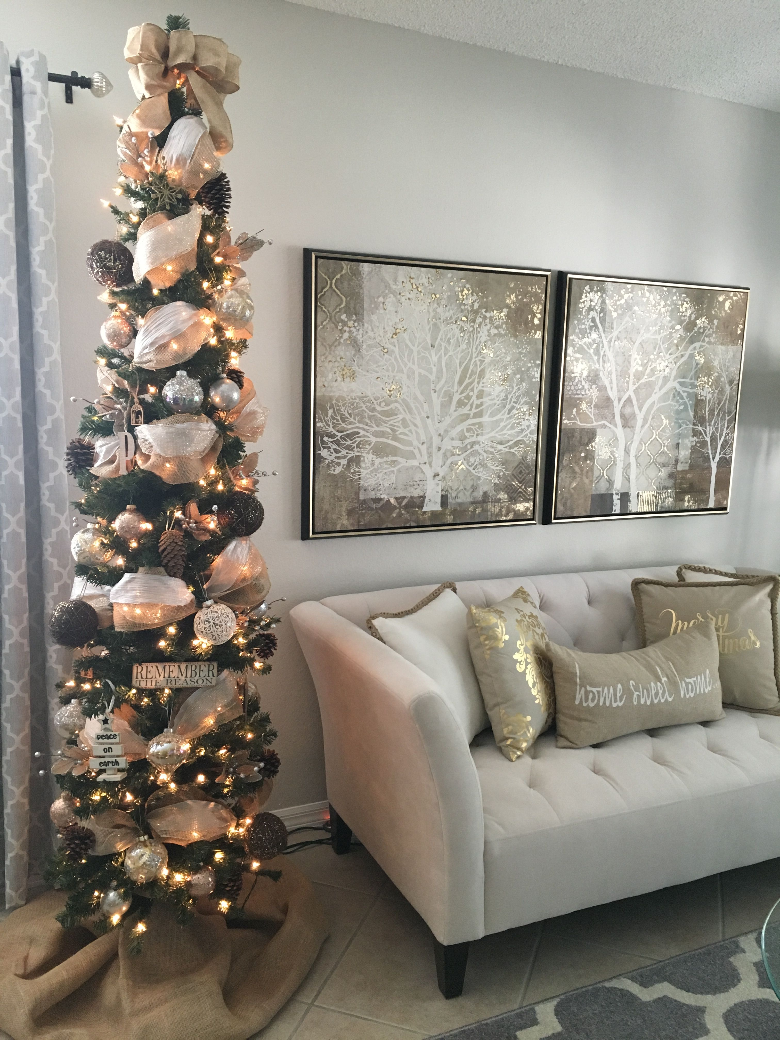 Pencil Christmas Tree Burlap, Gold Mesh And Silver Ribbons With