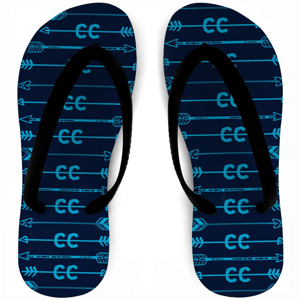 Cross Country Flip Flops – CC Arrows Design   Navy Print   Youth Cross Country Gift
