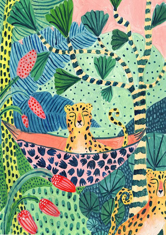 Estampado leopardo / Estampado botánico / Selva / Safari / Arte de pared de guardería / Ilustración botánica / Arte tropical / Estampado de selva / Guepardo / Arte de pared