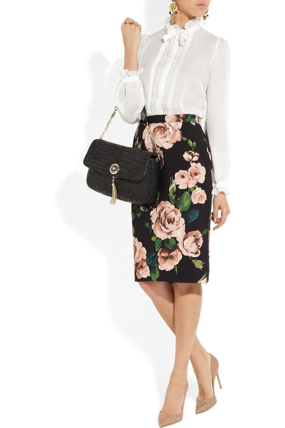 Dolce & Gabbana|Lace-trimmed silk-chiffon blouse|NET-A-PORTER.COM