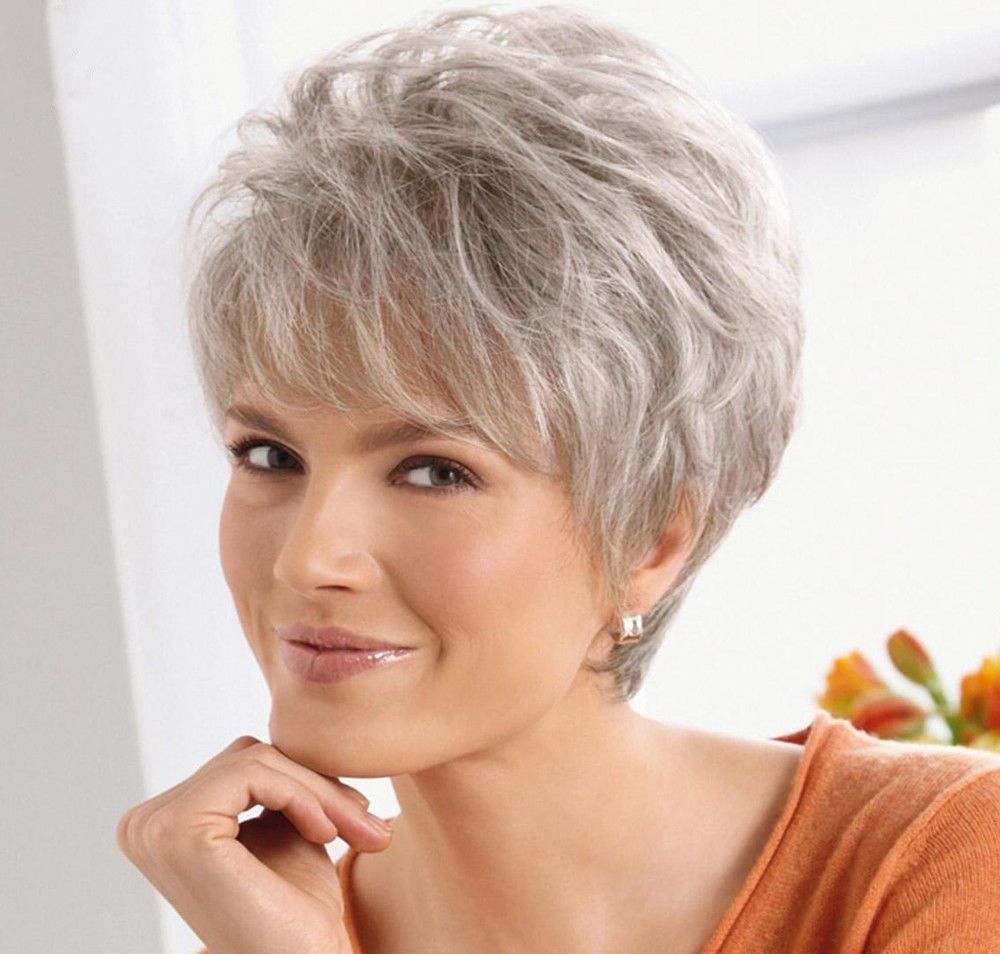 Beautiful Women lady Wig Short Straight Silver Grey