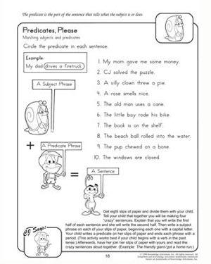 Predicates, Please - Free 2nd Grade English Worksheet | School ...