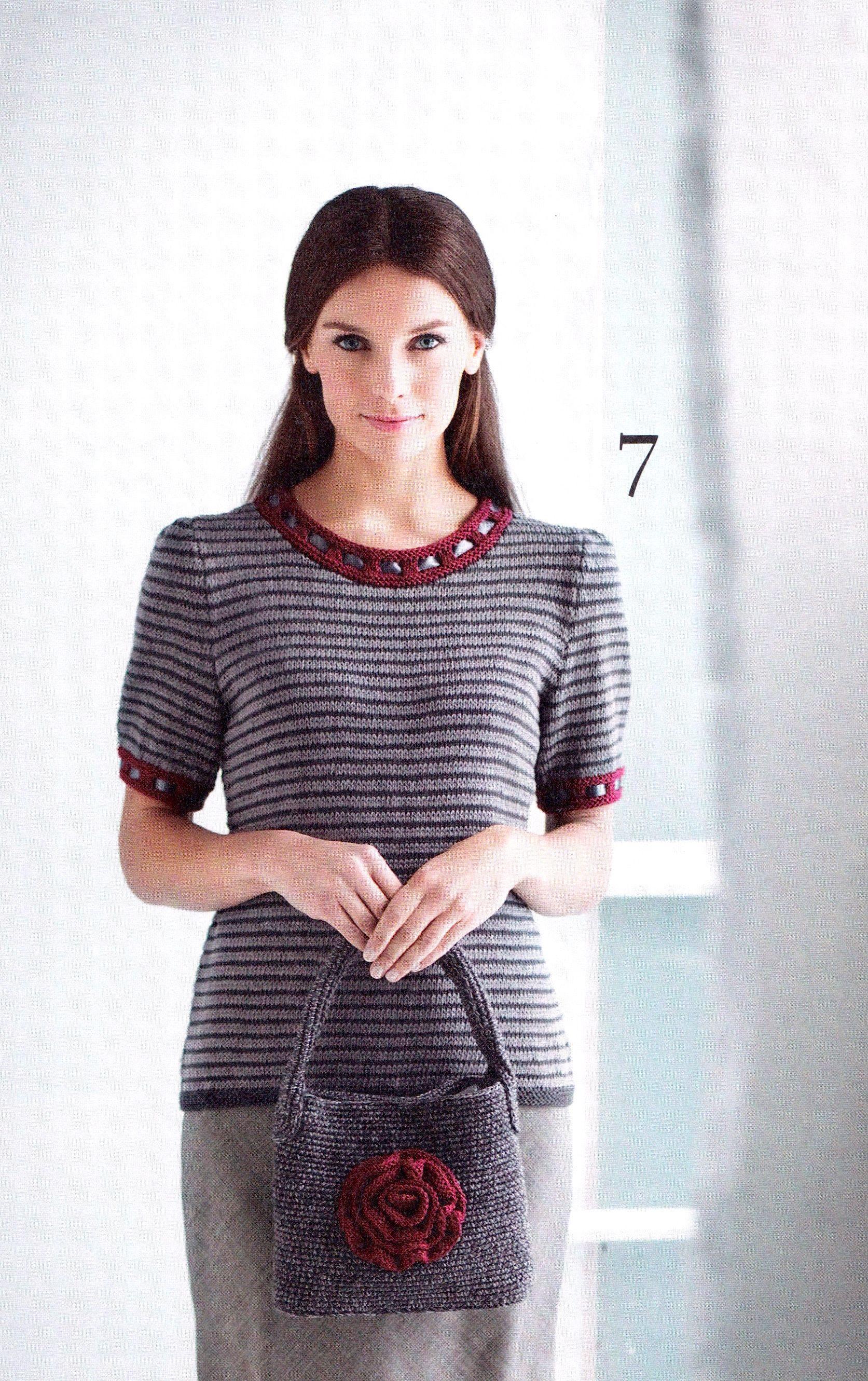 Moda 2/11, Kotiliesi Neuleet Käsityöextra 2/14. Cotton t-skirt by Pia Heilä for Lankava Oy. http://www.lankava.fi/WebRoot/esito/Shops/esito/MediaGallery/OHJEET/Harmaa_raitapusero.pdf