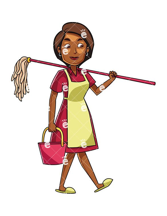 A Black Woman Carrying A Mop And A Bucket Cleaning