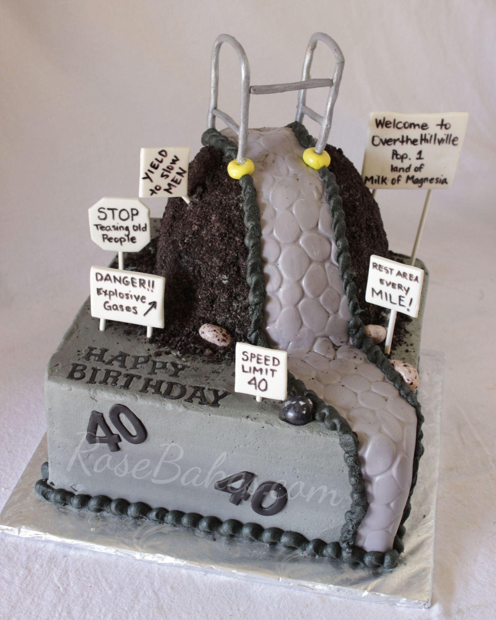 Quot Over The Hill Quot 40th Birthday Cake Rose Bakes Pins