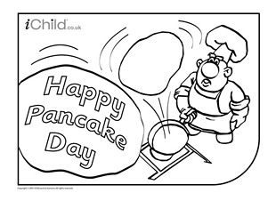 Pancake day (shrove Tuesday) colouring in picture