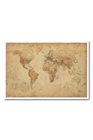 Ye olde world map pin board framed in white wood includes pins world map vintage style art poster print poster print collections poster print gumiabroncs Image collections
