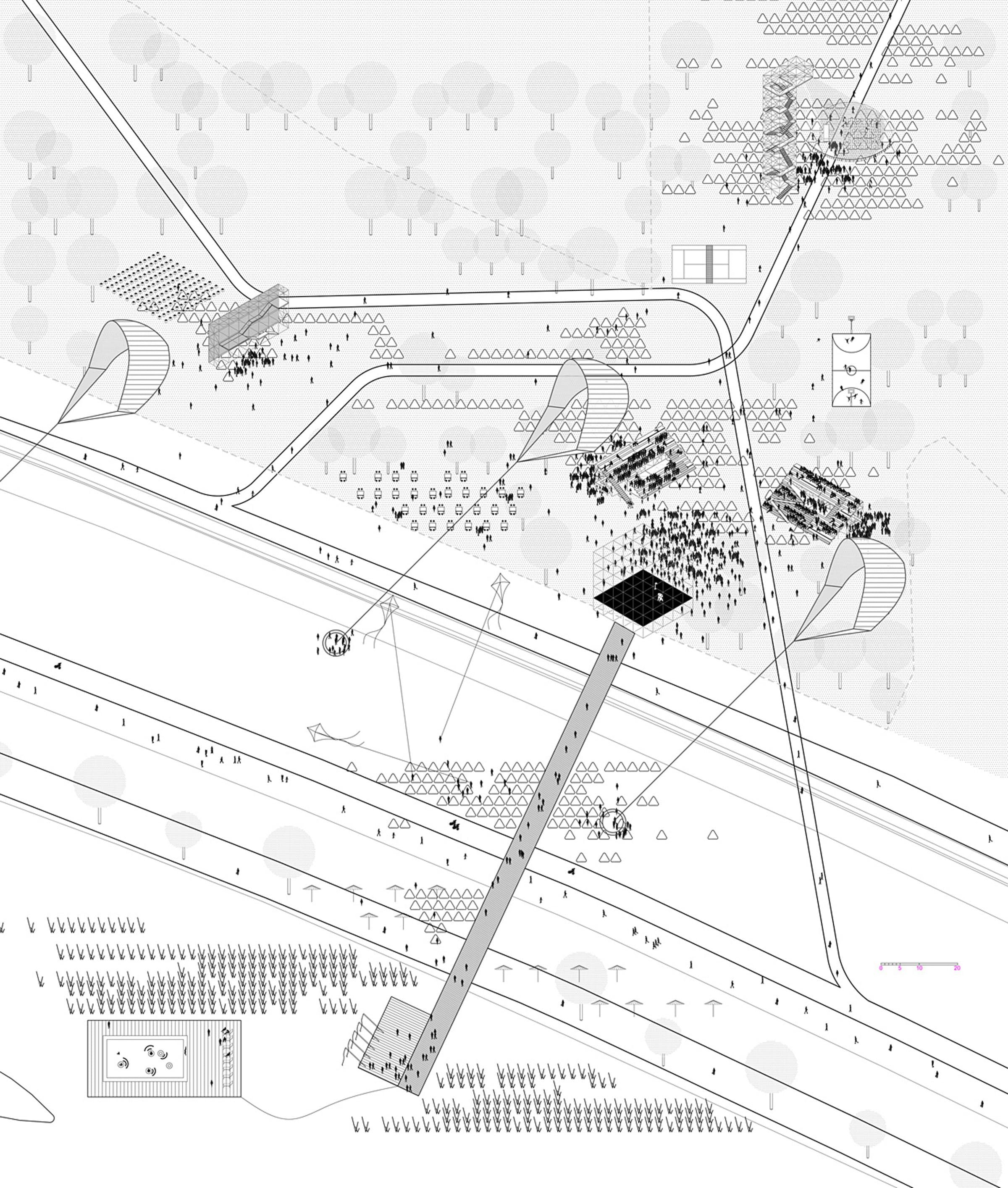 Swap On The River The 1st Prize Winner For Europan 13 Zagreb Croatia Zagreb Axonometric Drawing Architecture Drawings