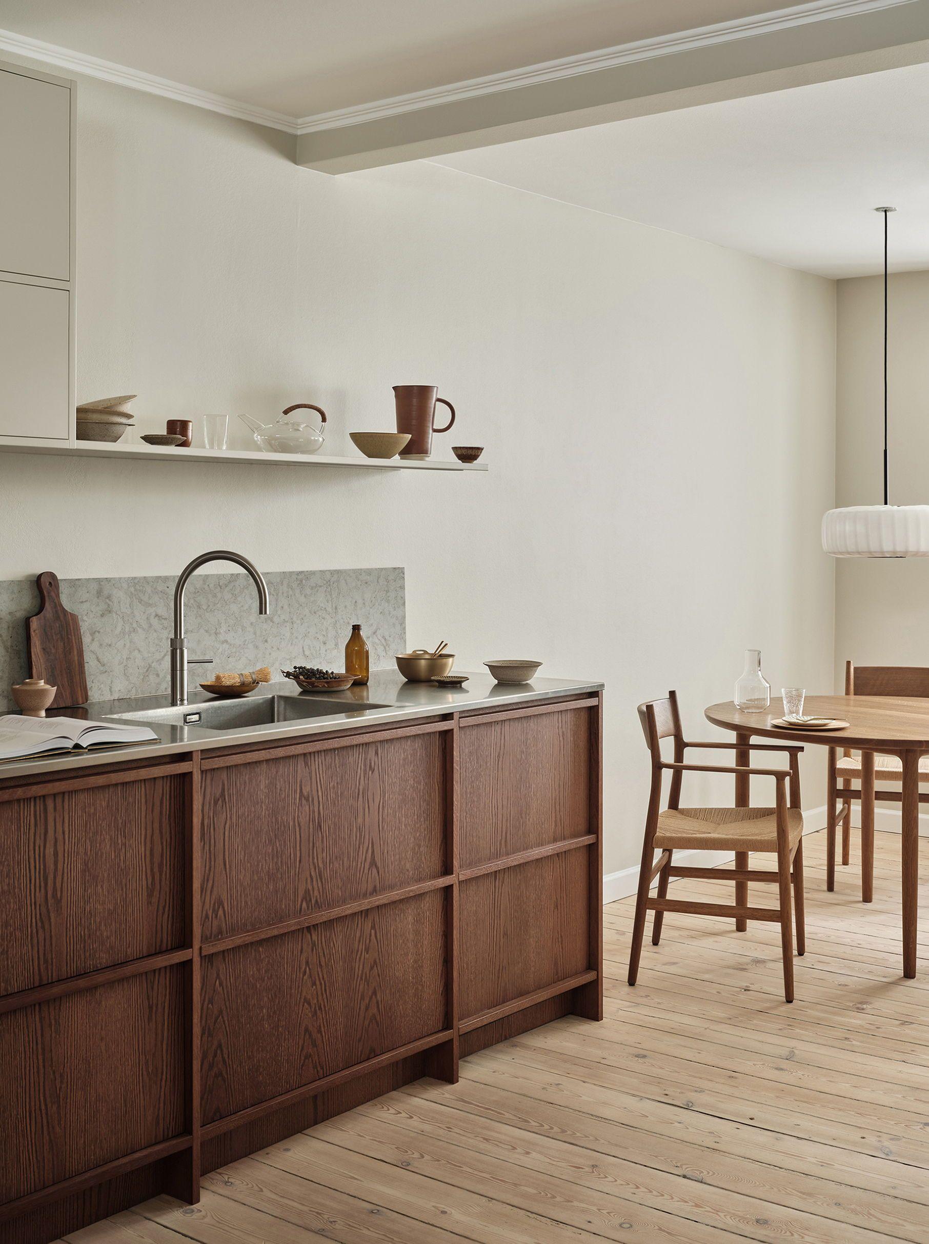 Dream Kitchen by Nordiska Kök - Table and chairs were designed by David Thulstrup for Noma restaurant. More kitchen inspiration, ideas, interior, countertops and design at @nordiskakok #noma #kitcheninspo #nordicdesign #scandinaviandesign #kitchen #davidthulstrup #woodenkitchen #kitchendesign #copenhagen #minimalist #nordicdesign #scandinavianhome #interiordesign #interior #minimalist #interiorarchitecture #kitcheninspo #scandinaviandesign #interiorinspiration #kitcheninspiration