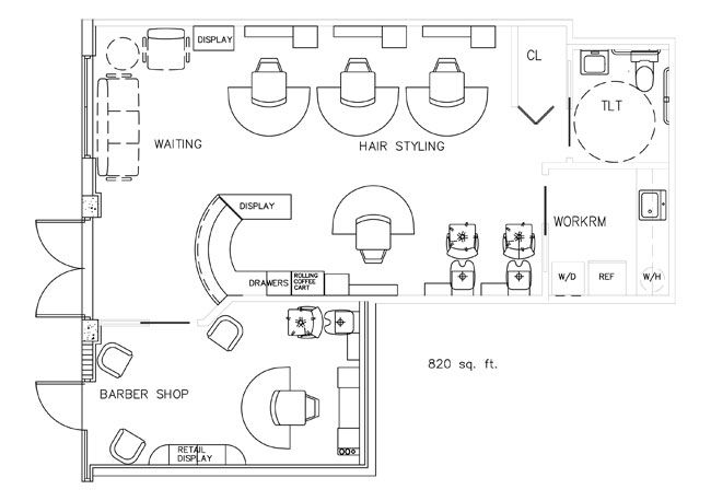 Barber Shop Floorplan Design Layout - 820 Square Feet SPA - new blueprint hair design