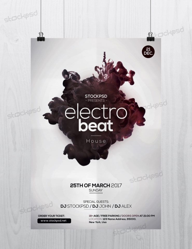 Electro Beat –Download Free PSD Flyer Template - Free PSD Flyer ...